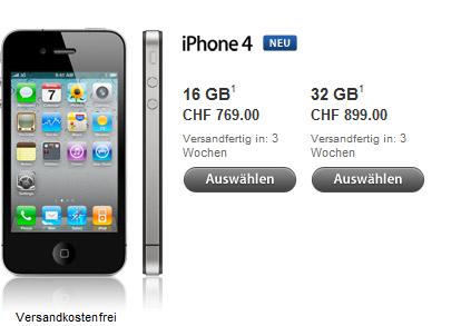 Screenshot aus dem Apple Shop vom Sonntag, 5. Sep 2010